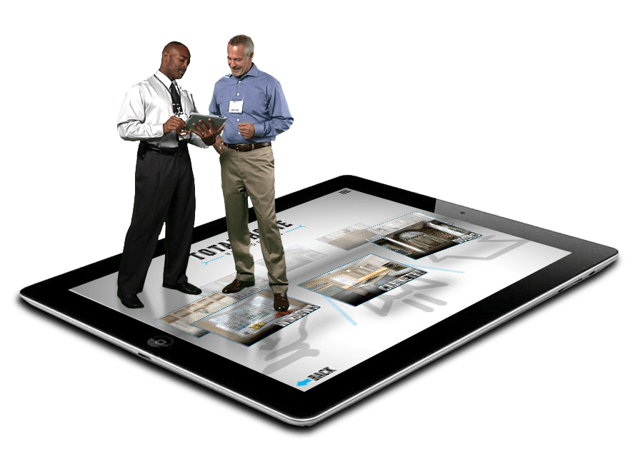 Two Men at Trade Show Using a Tablet with a Mobile App