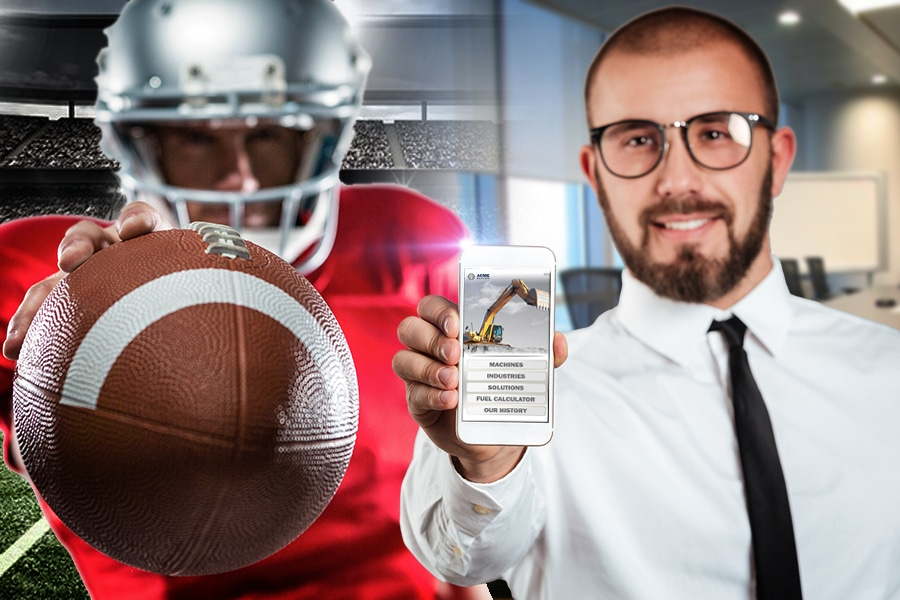Football player holding football while business man holds phone with app